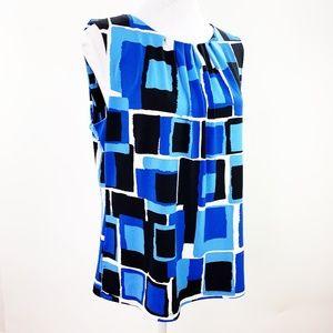 Calvin Klein Box Pleat Sleeveless Blouse Top Shell